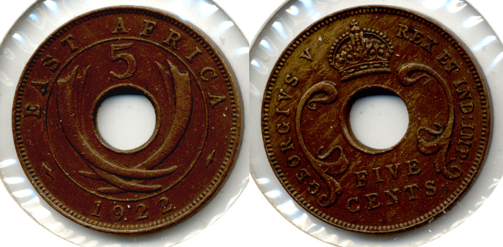 1922 British East Africa 5 Cents EF-40