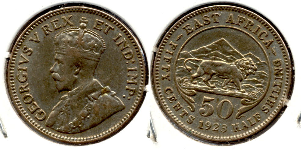 1923 British East Africa 50 Cents Fine-12 a