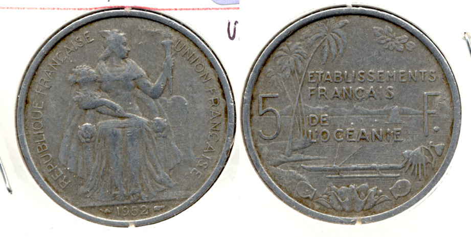 1952 French Oceania 5 Francs