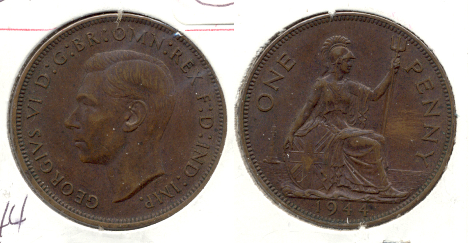 1944 Great Britain 1 Penny AU-50