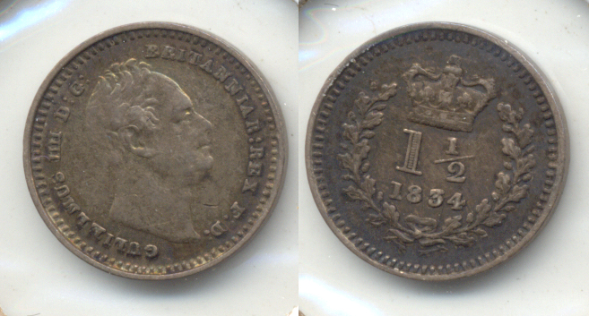 1834 Great Britain 1 1/2 Penny EF-40