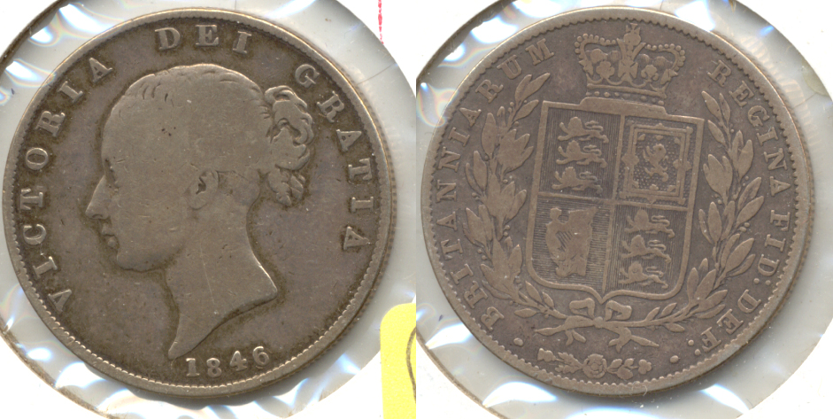 1846 Great Britain Half Crown VG-10