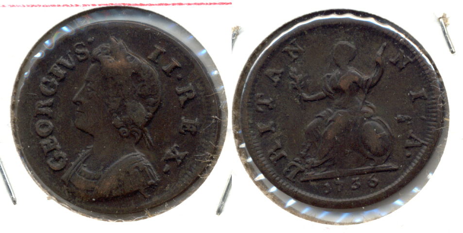 1736 Great Britain Farthing Fine-15