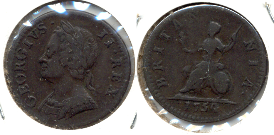 1754 Great Britain Farthing Fine-15
