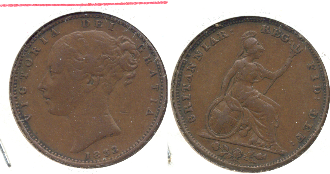 1853 Great Britain Farthing VF-20