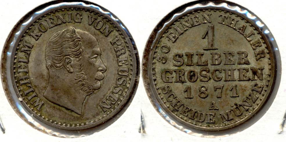1871-A Germany Prussia 1 Silber Groschen EF-40