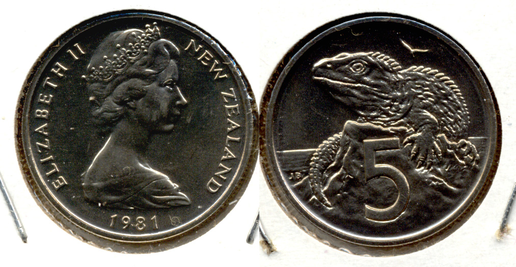1981 New Zealand 5 Cents MS-60