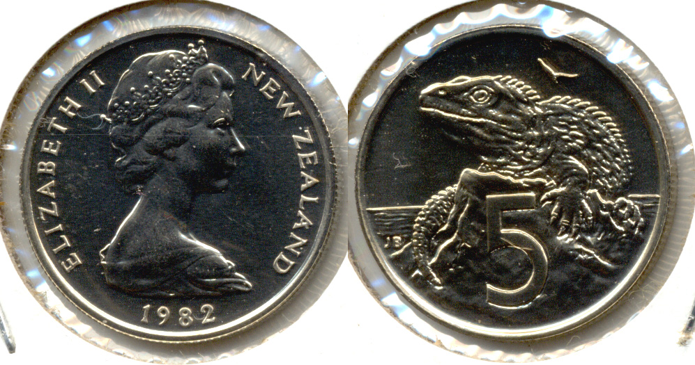1982 New Zealand 5 Cents MS-60