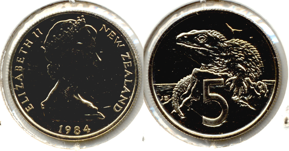 1984 New Zealand 5 Cents MS-60