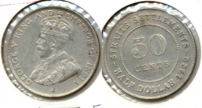 1920 Malaysia Straits Settlements 50 Cents EF-45