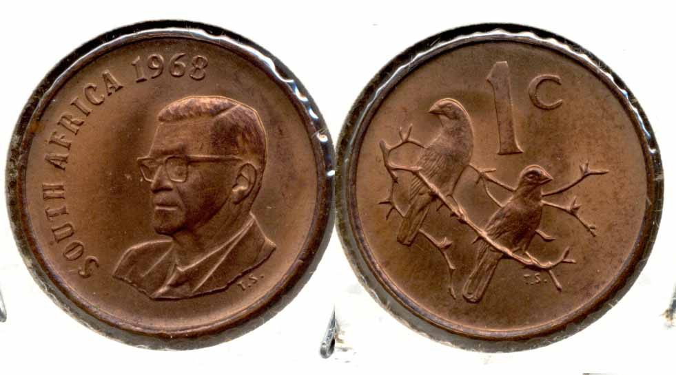 1968 South Africa 1 Cent English MS