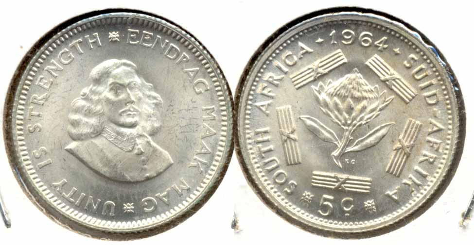 1964 South Africa 5 Cents MS