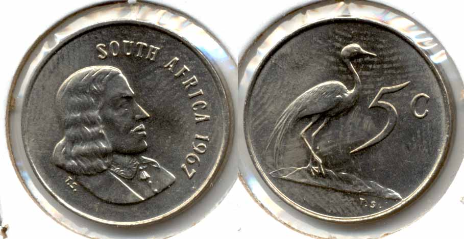 1967 South Africa 5 Cents English MS