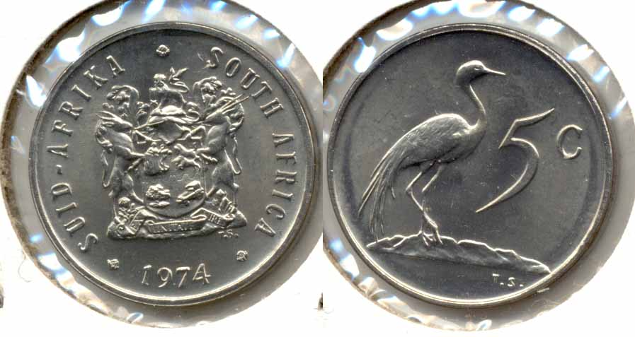 1974 South Africa 5 Cents MS