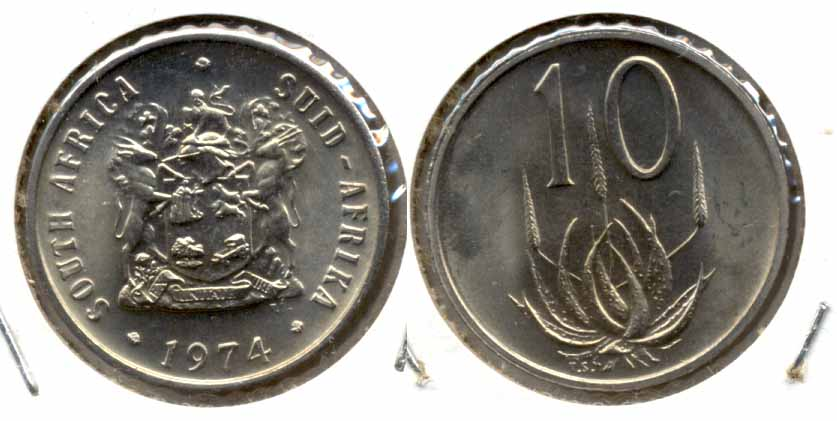 1974 South Africa 10 Cents MS
