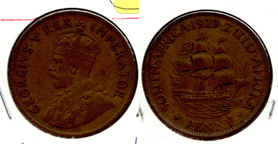 1929 South Africa 1 Penny VF-20