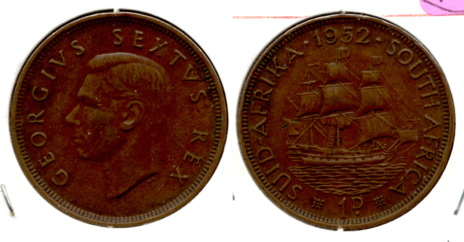 1952 South Africa 1 Penny EF-40