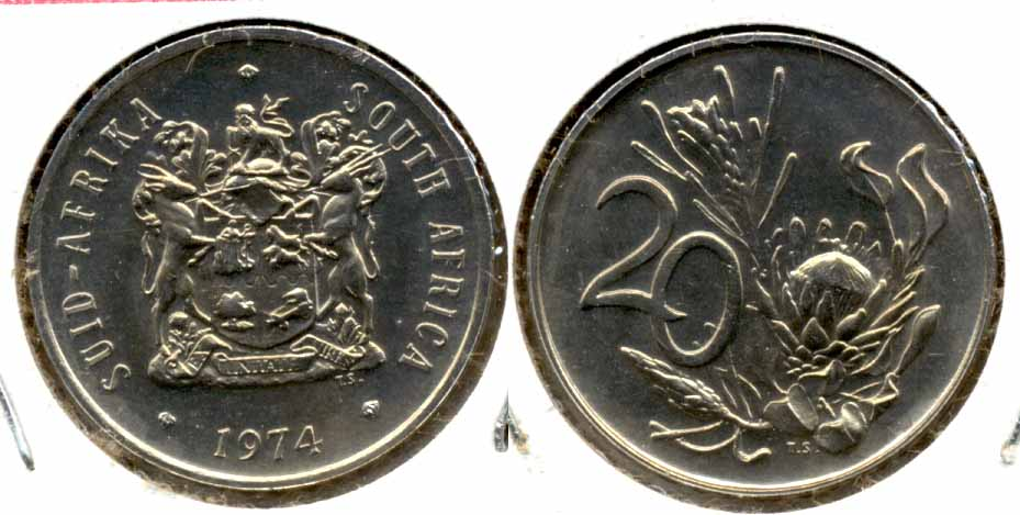 1974 South Africa 20 Cents MS