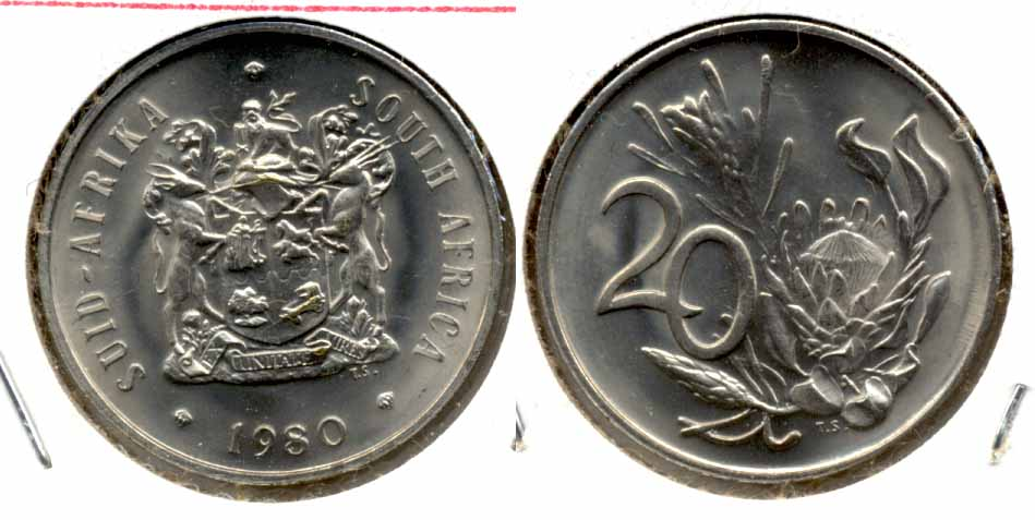 1980 South Africa 20 Cents MS
