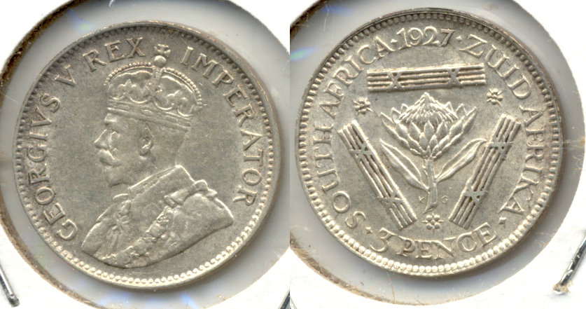 1927 South Africa 3 Pence EF-40