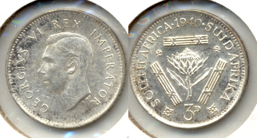 1940 South Africa 3 Pence AU-50