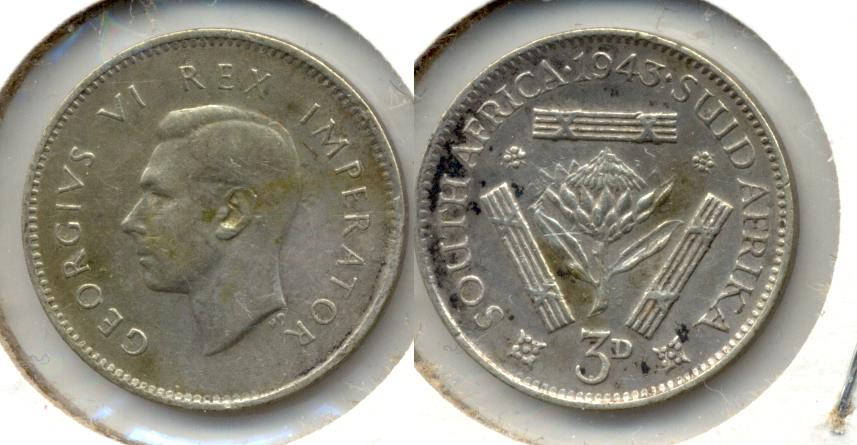 1943 South Africa 3 Pence VF-20