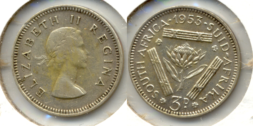 1953 South Africa 3 Pence VF-20
