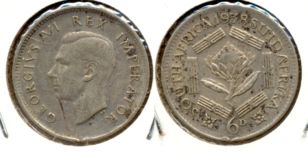 1938 South Africa 6 Pence EF-40