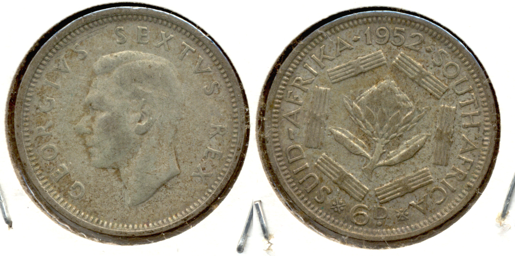 1952 South Africa 6 Pence Fine-12
