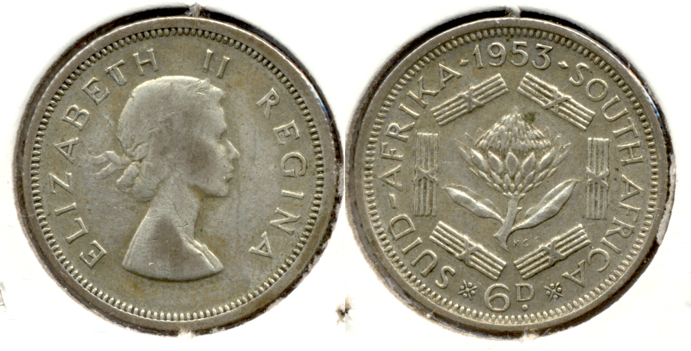 1953 South Africa 6 Pence Fine-12