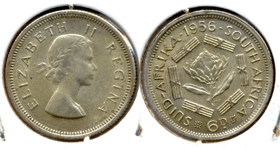 1956 South Africa 6 Pence EF-40