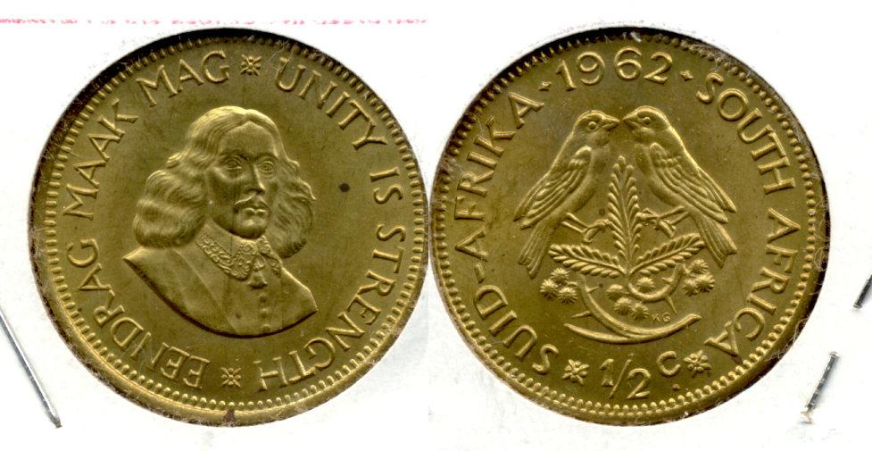 1962 South Africa 1/2 Cent MS-60