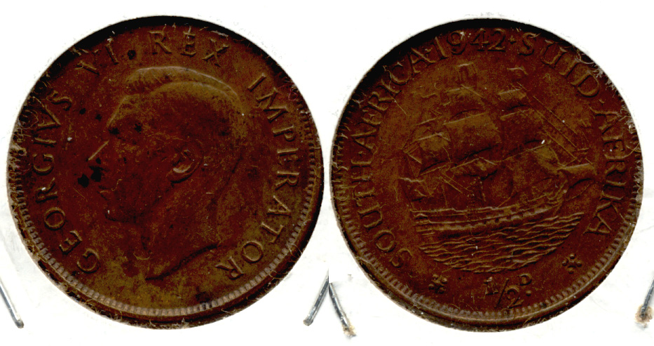 1942 South Africa 1/2 Penny VF-20