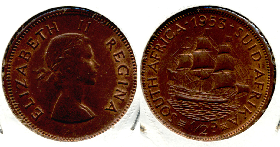 1953 South Africa 1/2 Penny MS-60