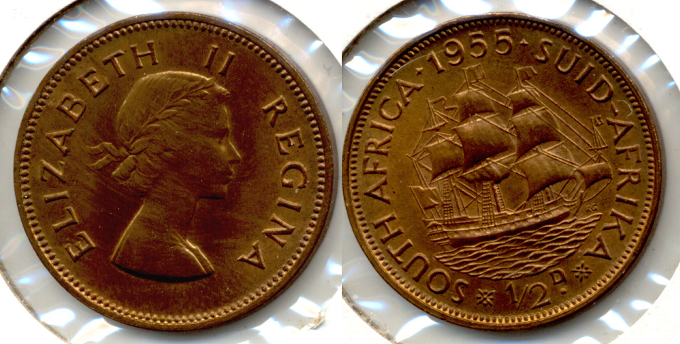 1955 South Africa 1/2 Penny MS-60