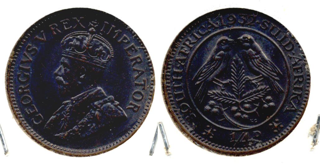 1932 South Africa 1/4 Penny AU-50