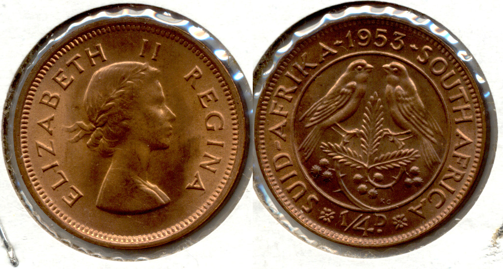 1953 South Africa 1/4 Penny MS-60 a