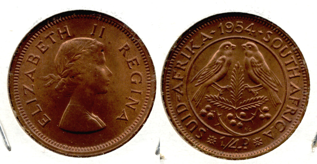 1954 South Africa 1/4 Penny MS-63