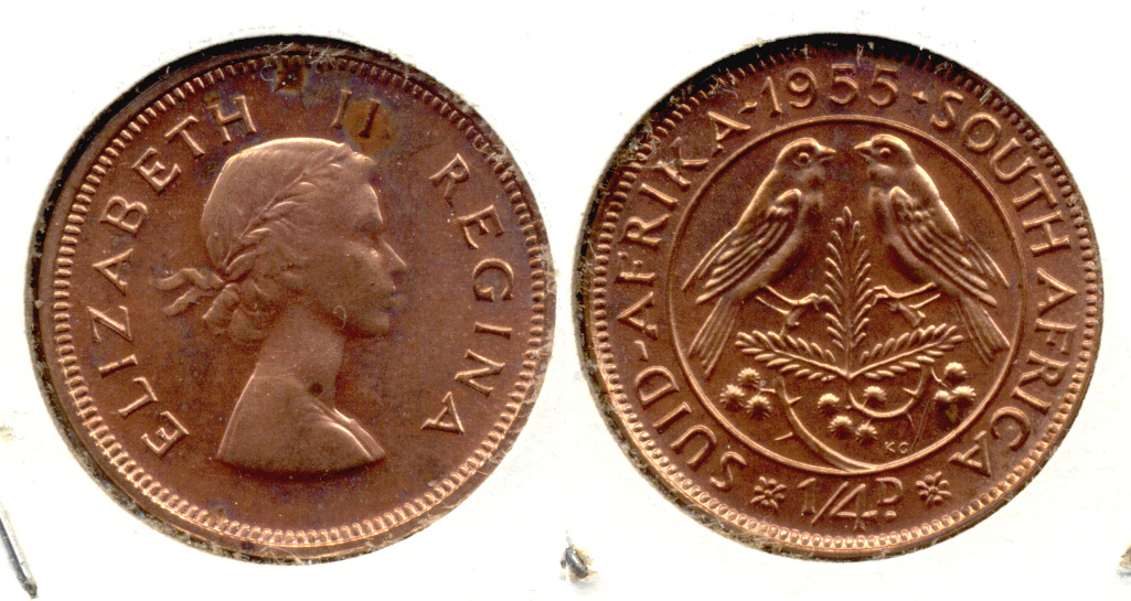 1955 South Africa 1/4 Penny Proof