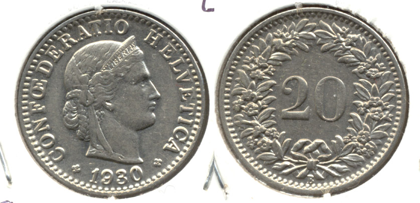 1930-B Switzerland 20 Rappen EF-40