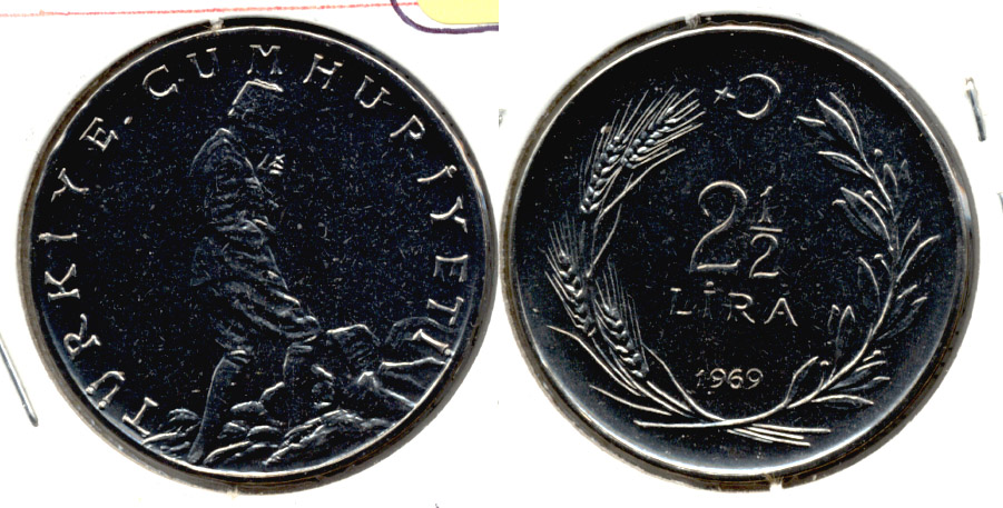 1969 Turkey 2 1/2 Lira Uncirculated