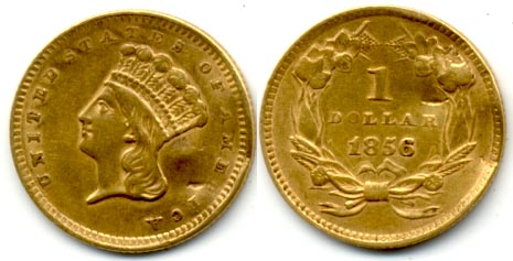 1856 Type 3 Gold Dollar AU-50 Damaged