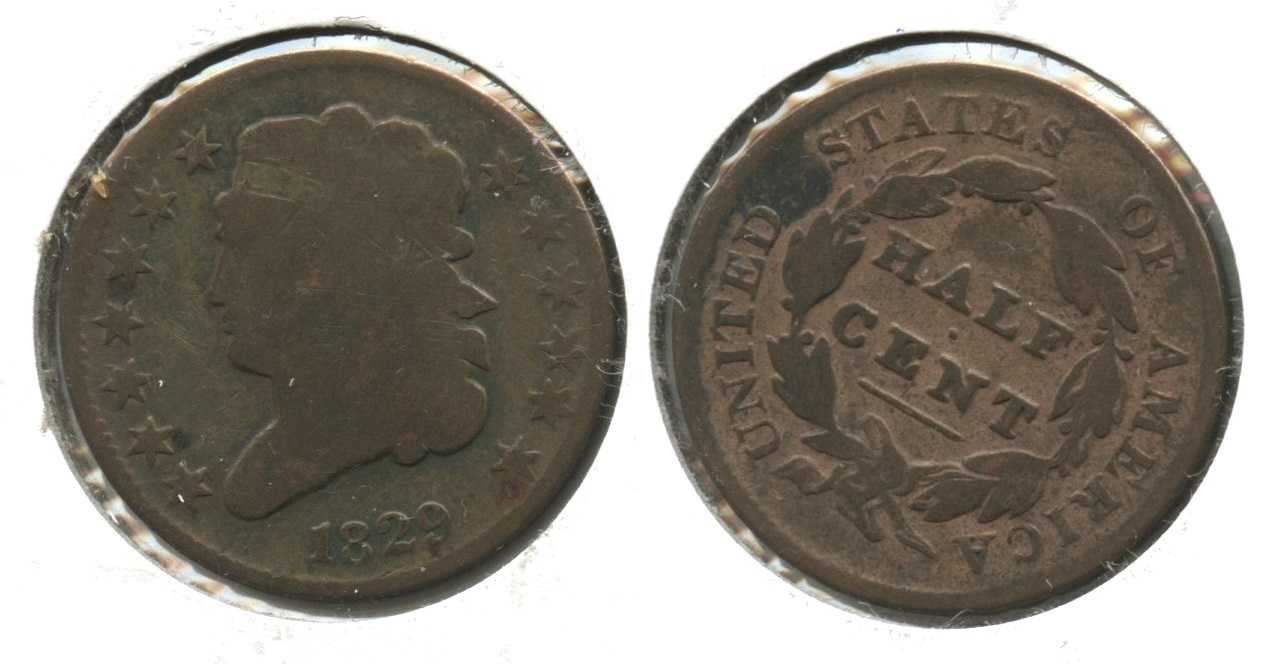 1829 Classic Head Half Cent Good-4 Cleaned