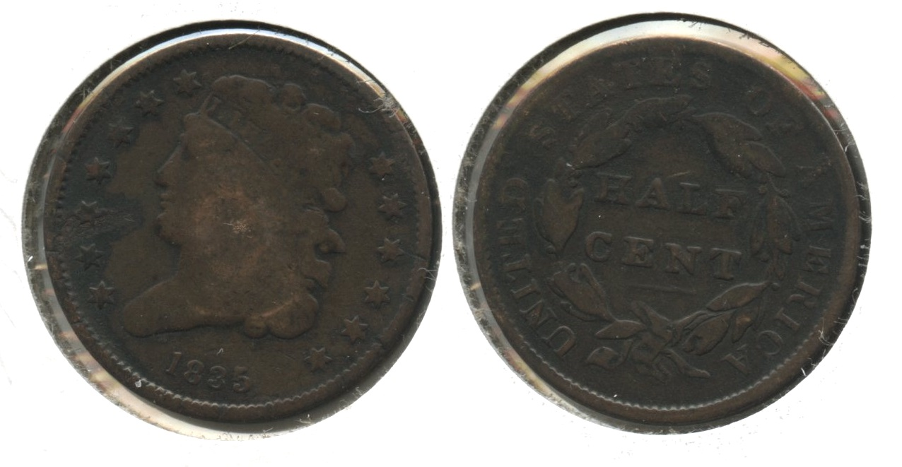 1835 Classic Head Half Cent Good-4 #b Dark Area