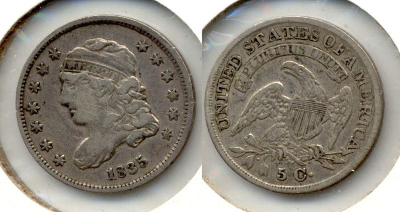 1835 Capped Bust Half Dime Fine-15