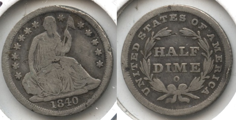1840-O Seated Liberty Half Dime VG-8 Obverse Rim Bump #a