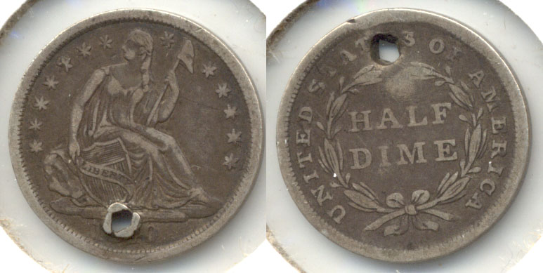 1840 Seated Liberty Half Dime Fine-12 Holed