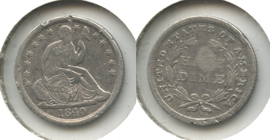 1840 Seated Liberty Half Dime VF-20 Rim Dings