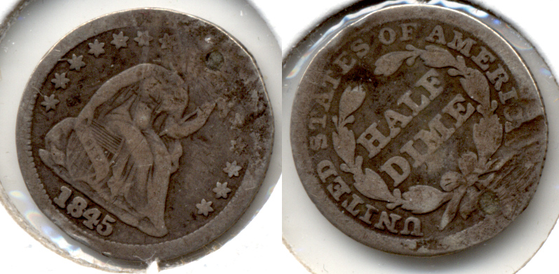 1845 Seated Liberty Half Dime Good-4 a Plugged