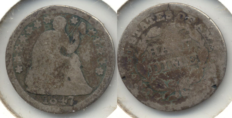 1847 Seated Liberty Half Dime AG-3 Rim Bumps